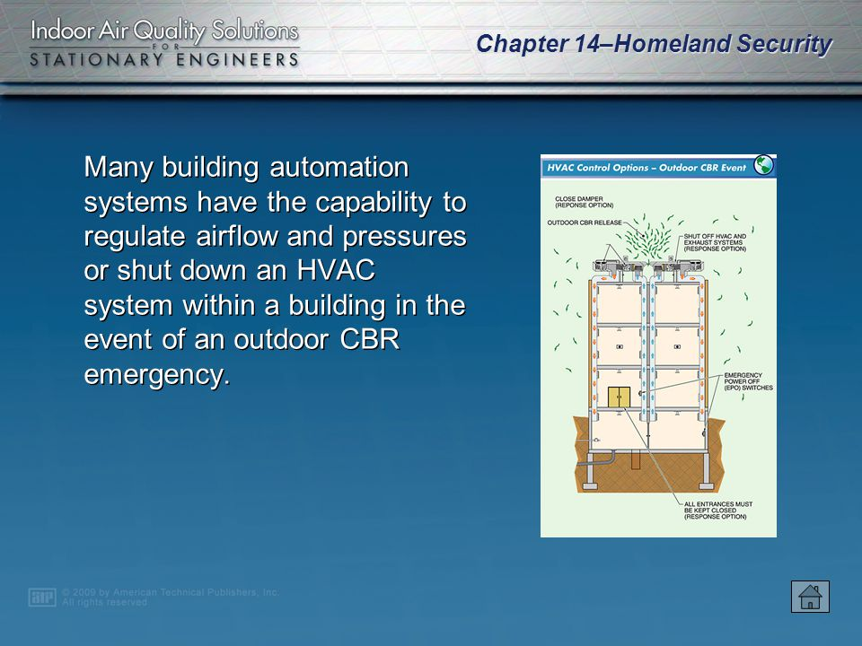 Chapter 14–Homeland Security Information on building mechanical, electrical, vertical transport, fire and life-safety, and emergency operation systems must be strictly controlled.