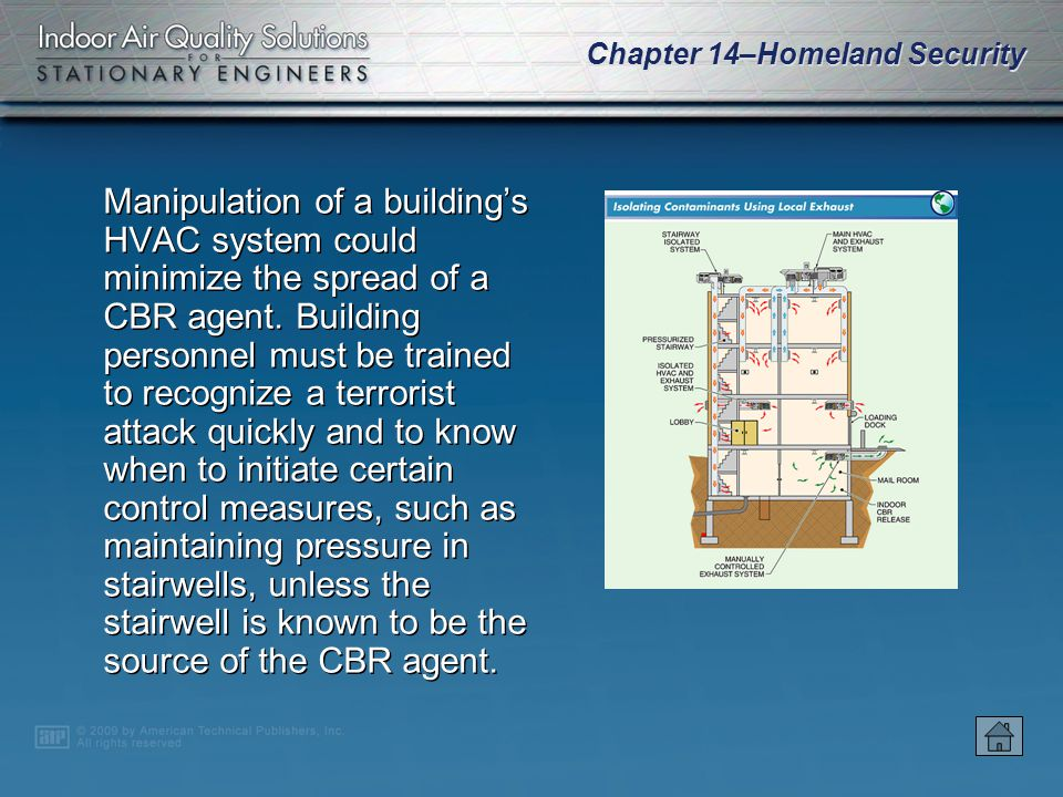 Chapter 14–Homeland Security Many building automation systems have the capability to regulate airflow and pressures or shut down an HVAC system within a building in the event of an outdoor CBR emergency.