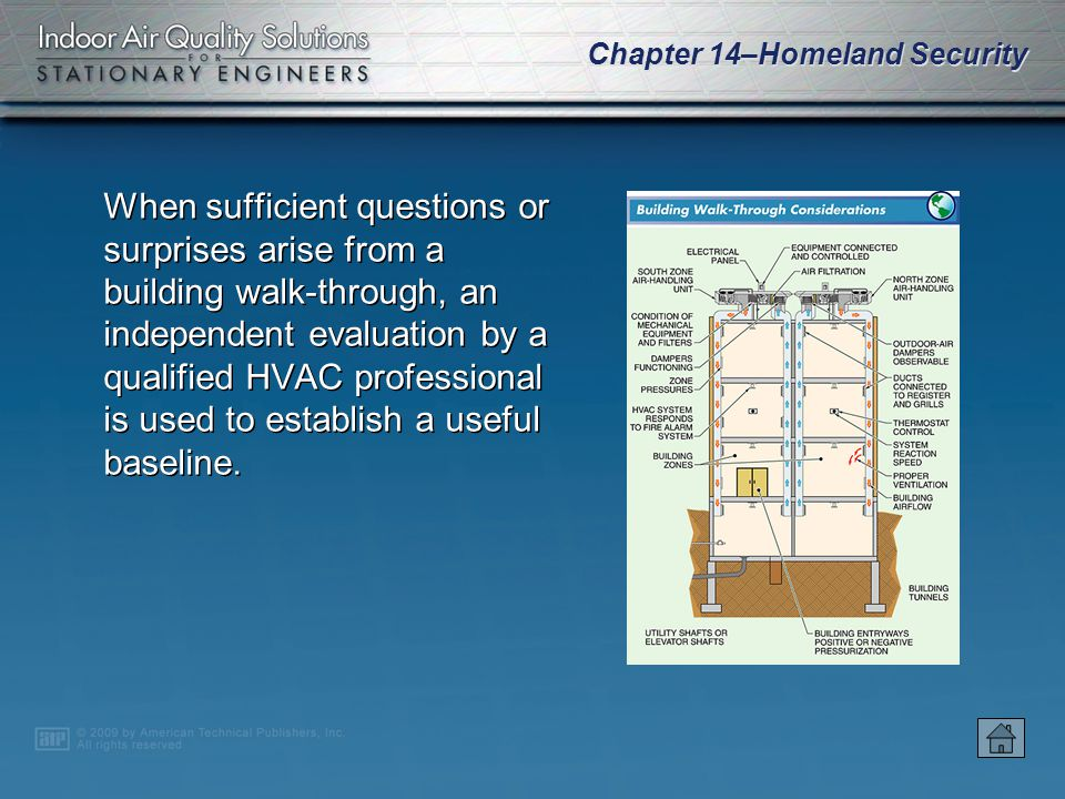 Chapter 14–Homeland Security The airflow patterns and dynamics in a building are of particular concern, specifically the heating, ventilating, and air conditioning (HVAC) systems of a building as an entry point and distribution system for hazardous contaminants, particularly CBR agents.