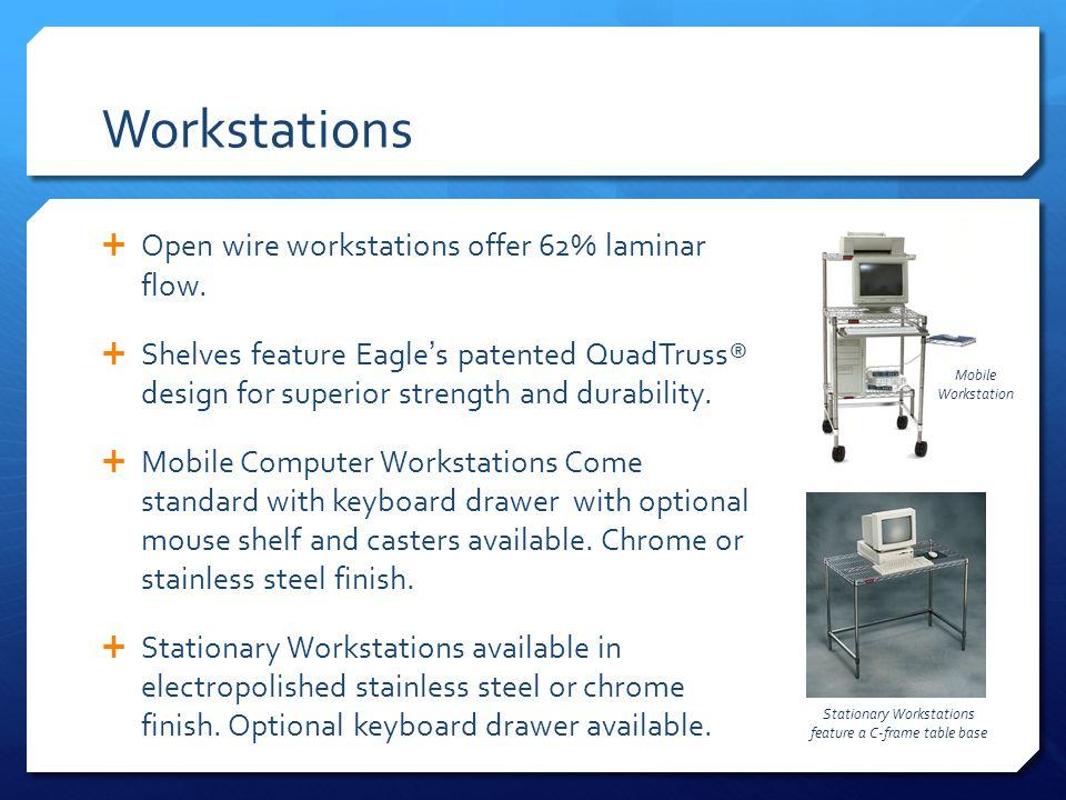 Workstations Open wire workstations offer 62% laminar flow.