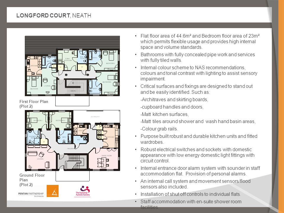 LONGFORD COURT, NEATH Flat floor area of 44.6m² and Bedroom floor area of 23m² which permits flexible usage and provides high internal space and volume standards.