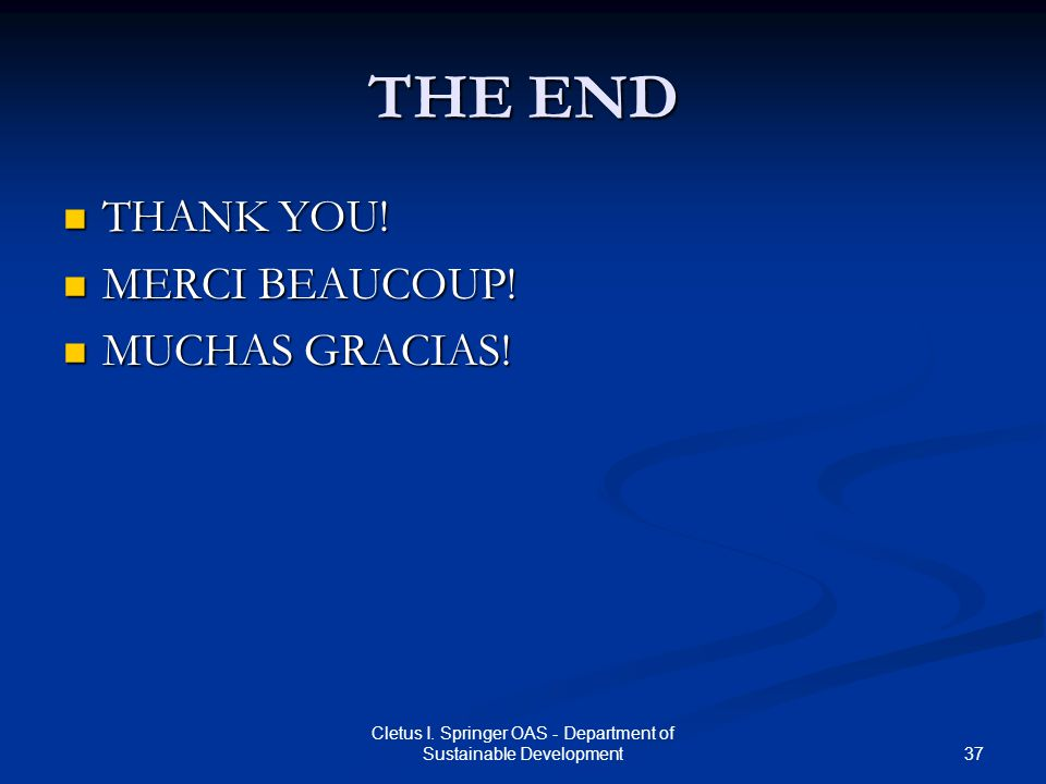 37 Cletus I. Springer OAS - Department of Sustainable Development THE END THANK YOU! THANK YOU! MERCI BEAUCOUP! MERCI BEAUCOUP! MUCHAS GRACIAS! MUCHAS