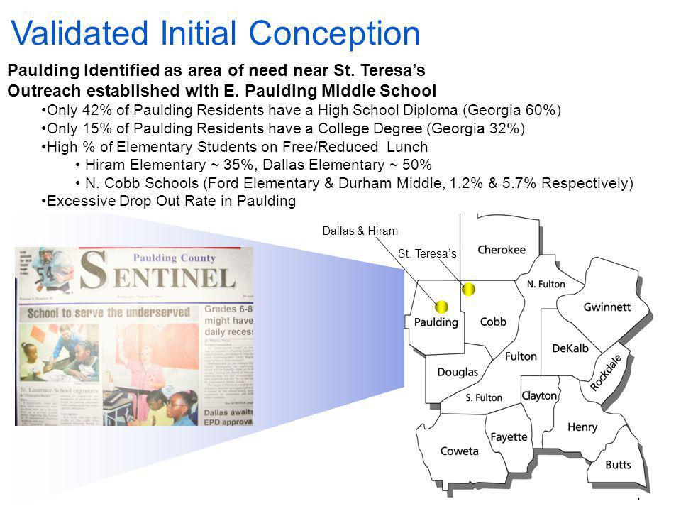4 Validated Initial Conception Paulding Identified as area of need near St.