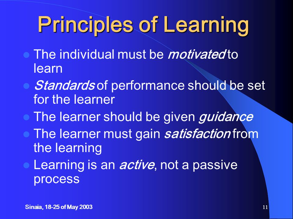 Sinaia, 18-25 of May 200311 Principles of Learning The individual must be motivated to learn Standards of performance should be set for the learner The learner should be given guidance The learner must gain satisfaction from the learning Learning is an active, not a passive process