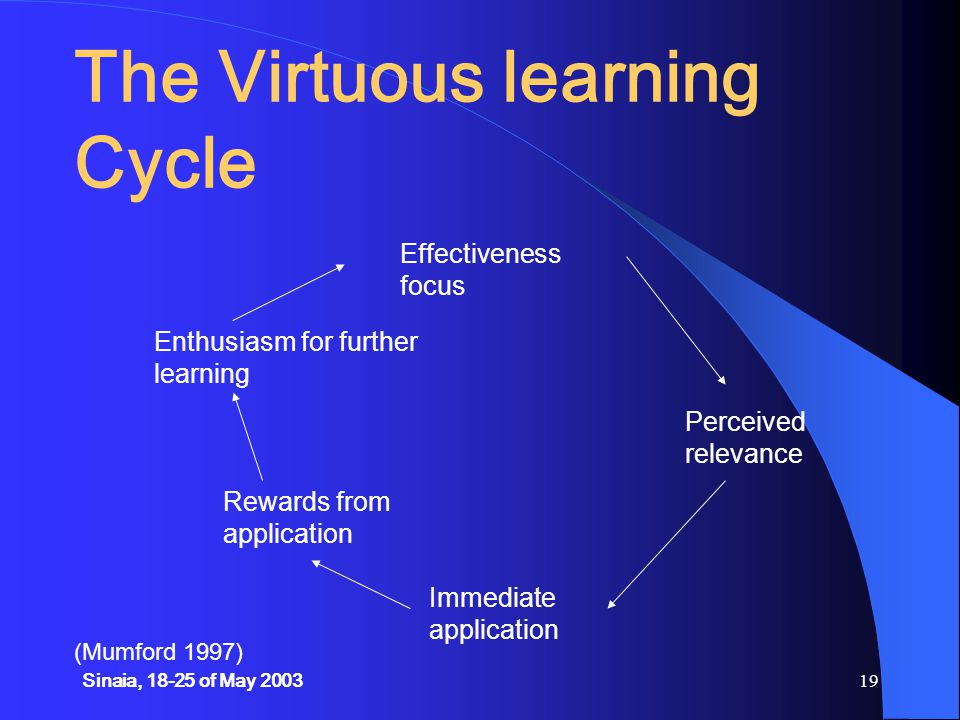 Sinaia, 18-25 of May 200319 The Virtuous learning Cycle (Mumford 1997) Effectiveness focus Perceived relevance Immediate application Rewards from application Enthusiasm for further learning