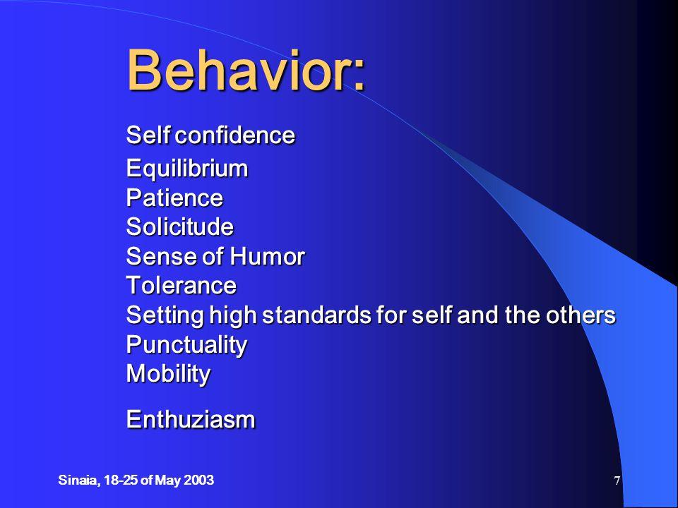 Sinaia, 18-25 of May 200358 PRESENTATION SKILLS general behavior verbal communication body language VISUAL AIDS Slides Flipcharts Audio materials Video materials