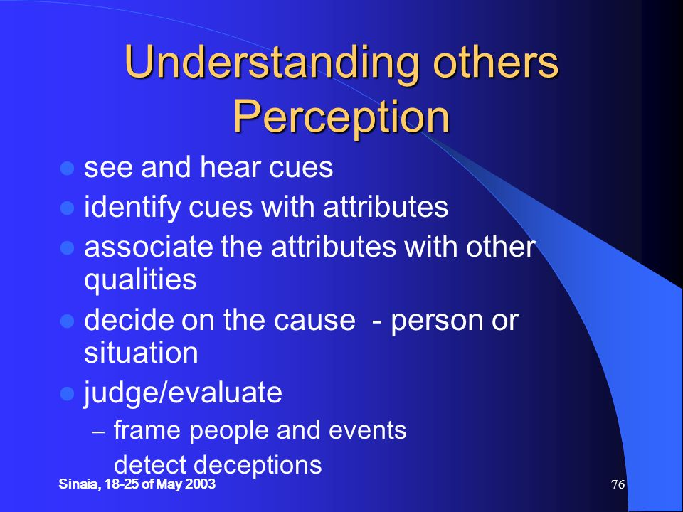 Sinaia, 18-25 of May 200376 Understanding others Perception see and hear cues identify cues with attributes associate the attributes with other qualities decide on the cause - person or situation judge/evaluate – frame people and events detect deceptions