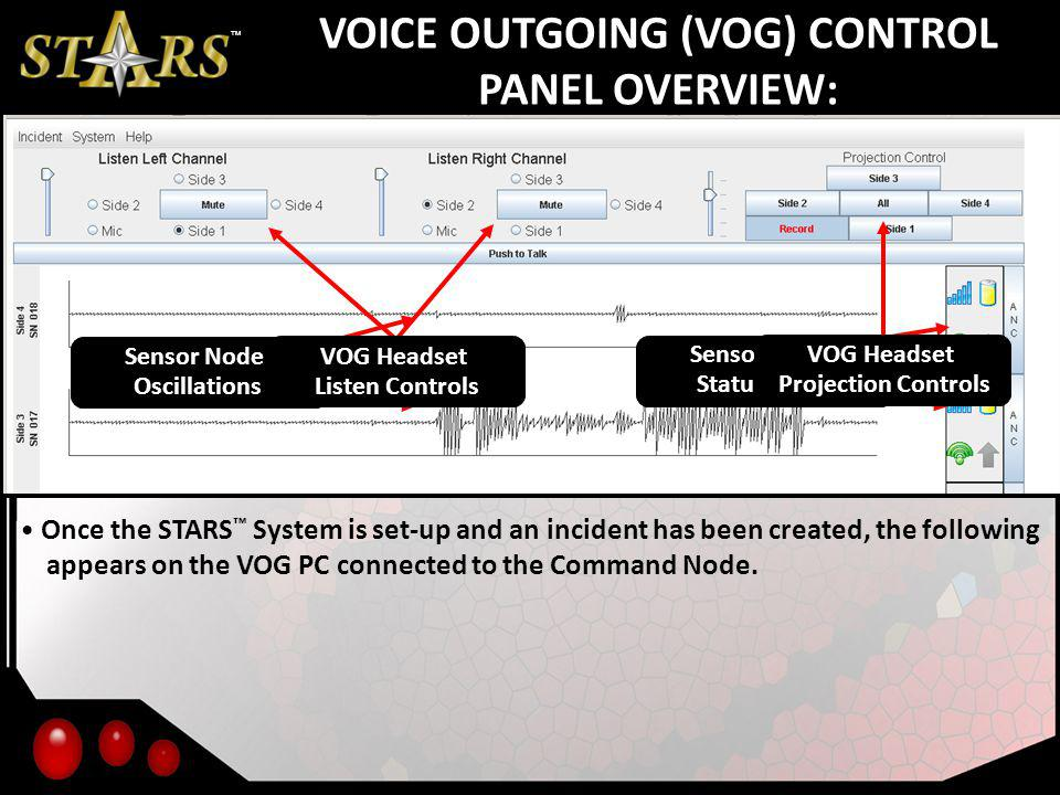 VOICE OUTGOING (VOG) CONTROL PANEL OVERVIEW: Once the STARS System is set-up and an incident has been created, the following appears on the VOG PC connected to the Command Node.