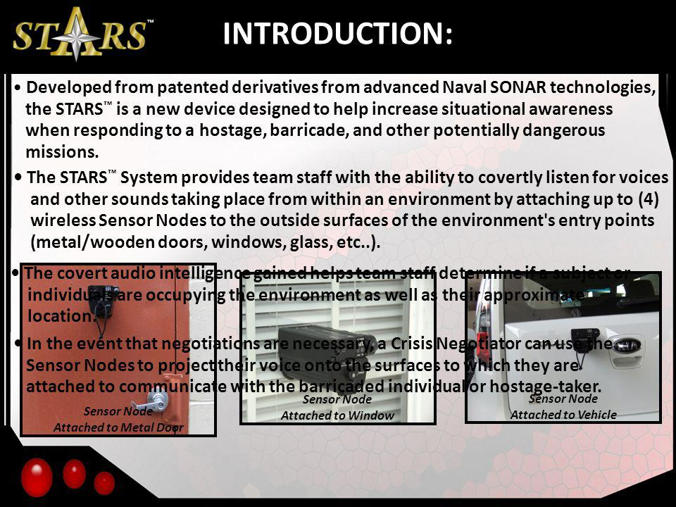 INTRODUCTION: Developed from patented derivatives from advanced Naval SONAR technologies, the STARS is a new device designed to help increase situatio