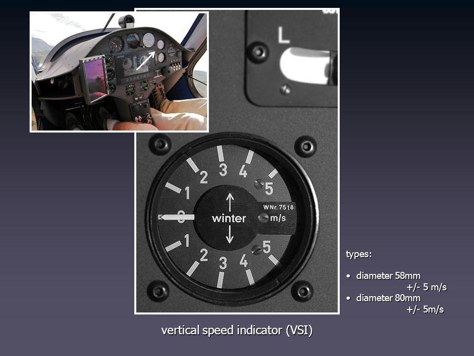 vertical speed indicator (VSI) types: diameter 58mm diameter 58mm +/- 5 m/s +/- 5 m/s diameter 80mm diameter 80mm +/- 5m/s +/- 5m/s