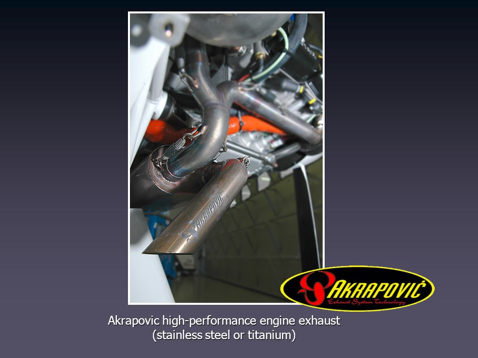 Akrapovic high-performance engine exhaust (stainless steel or titanium)