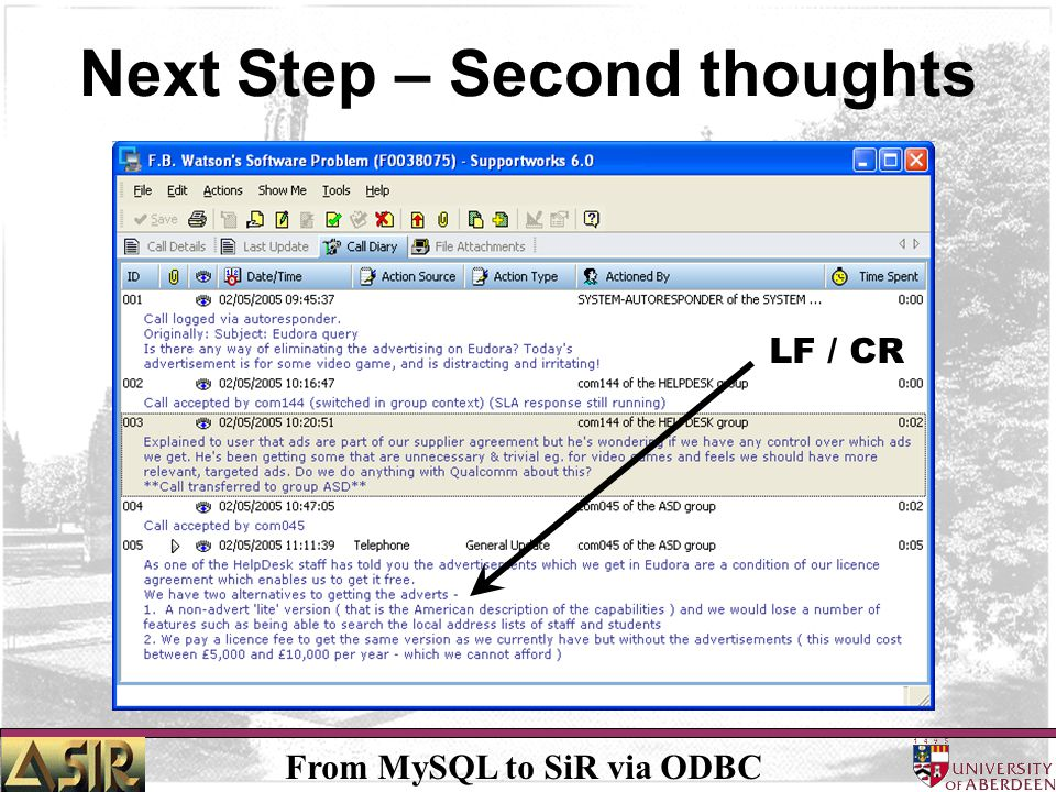 From MySQL to SiR via ODBC Next Step – Second thoughts LF / CR