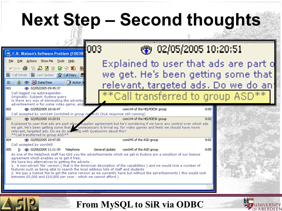 From MySQL to SiR via ODBC Next Step – Second thoughts