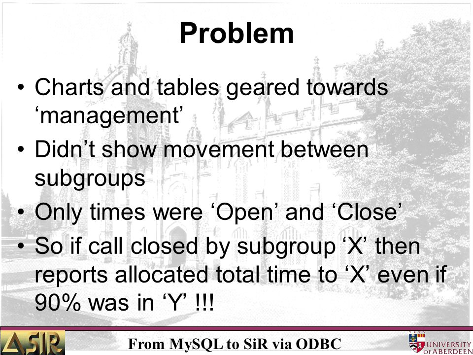 From MySQL to SiR via ODBC Problem Charts and tables geared towards management Didnt show movement between subgroups Only times were Open and Close So