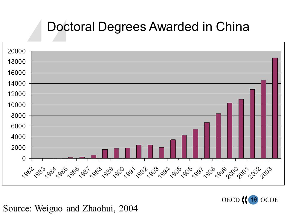 19 Source: Weiguo and Zhaohui, 2004 Doctoral Degrees Awarded in China