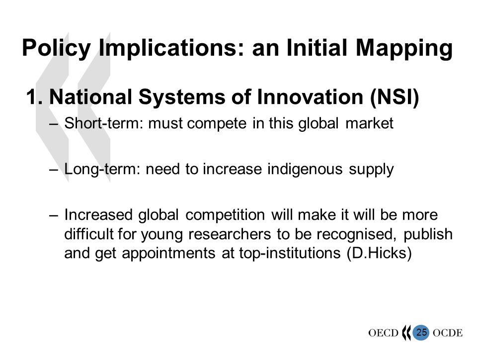 25 Policy Implications: an Initial Mapping 1. National Systems of Innovation (NSI) –Short-term: must compete in this global market –Long-term: need to