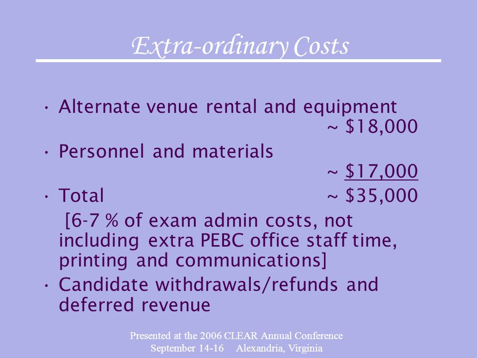Presented at the 2006 CLEAR Annual Conference September 14-16 Alexandria, Virginia Extra-ordinary Costs Alternate venue rental and equipment ~ $18,000