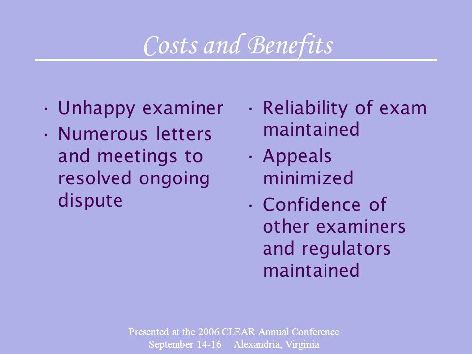 Presented at the 2006 CLEAR Annual Conference September 14-16 Alexandria, Virginia Costs and Benefits Unhappy examiner Numerous letters and meetings t