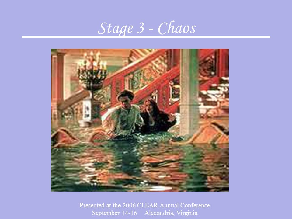 Presented at the 2006 CLEAR Annual Conference September 14-16 Alexandria, Virginia Stage 3 - Chaos