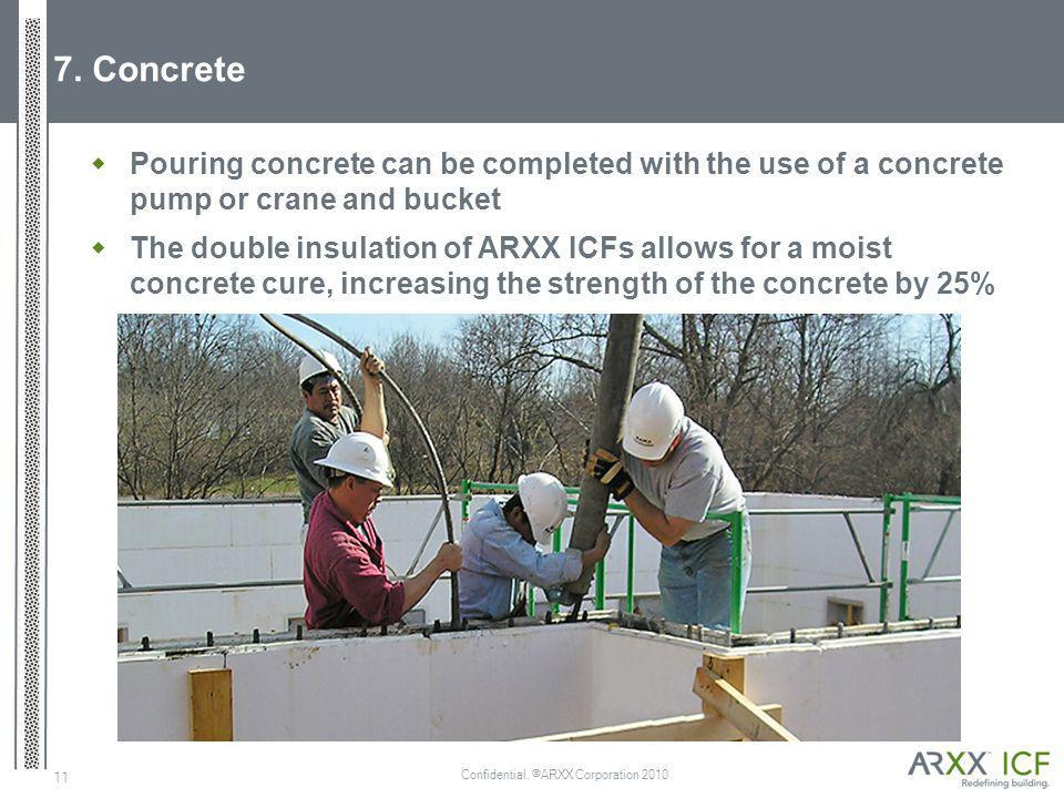 Confidential. ©ARXX Corporation 2010 11 7. Concrete Pouring concrete can be completed with the use of a concrete pump or crane and bucket The double i