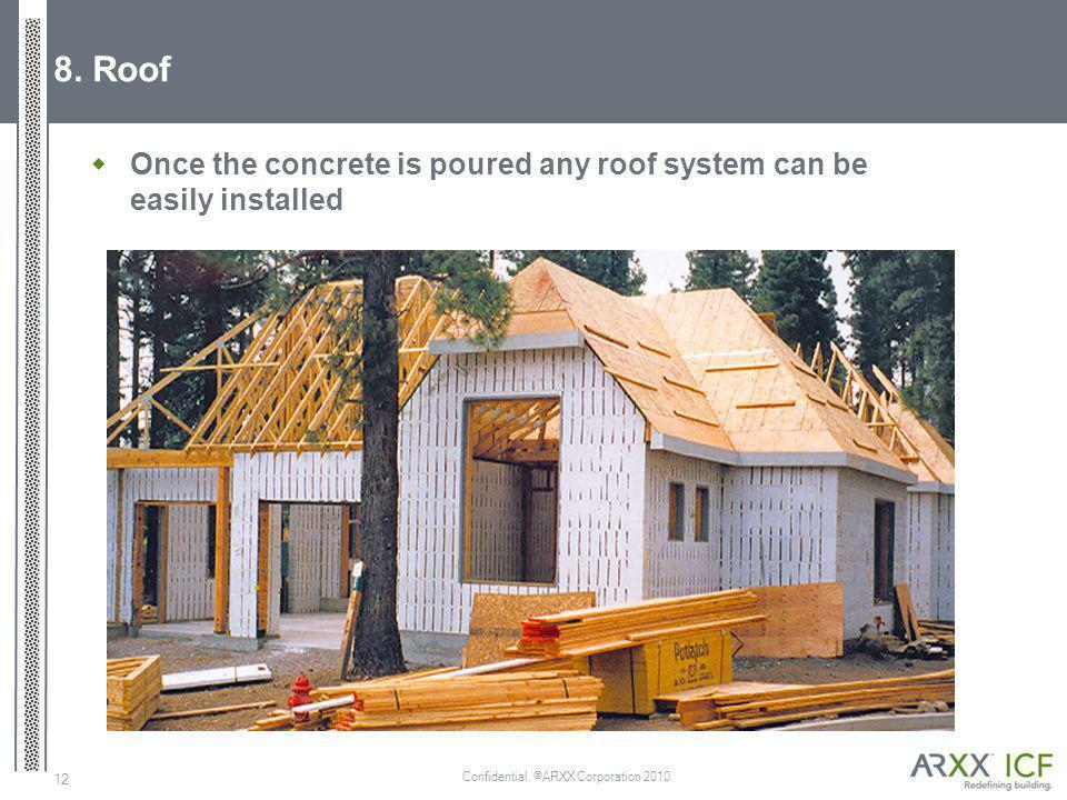 Confidential. ©ARXX Corporation 2010 12 8. Roof Once the concrete is poured any roof system can be easily installed