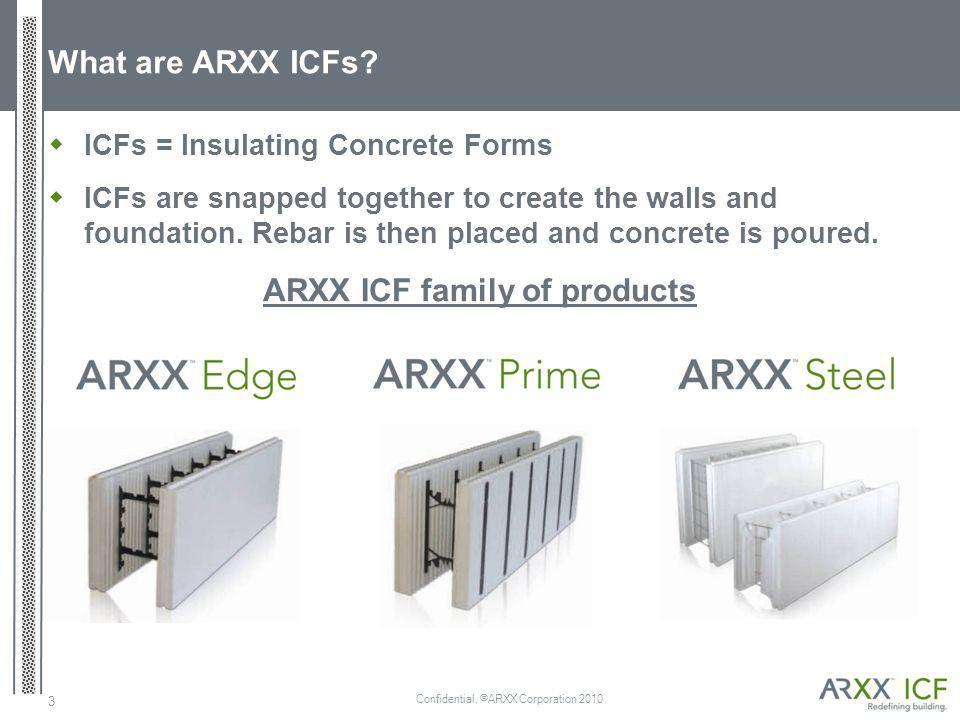 Confidential. ©ARXX Corporation 2010 3 What are ARXX ICFs? ICFs = Insulating Concrete Forms ICFs are snapped together to create the walls and foundati