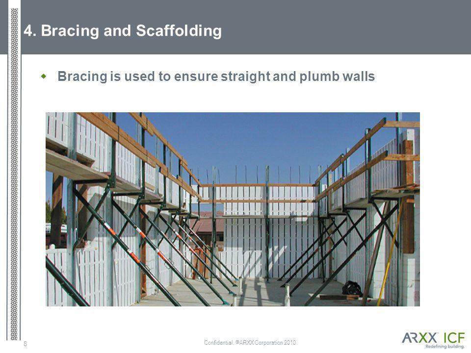 Confidential. ©ARXX Corporation 2010 8 4. Bracing and Scaffolding Bracing is used to ensure straight and plumb walls
