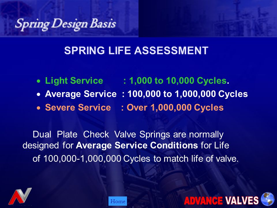 Home Spring Design Basis Spring Design Basis SPRING LIFE ASSESSMENT Light Service : 1,000 to 10,000 Cycles.