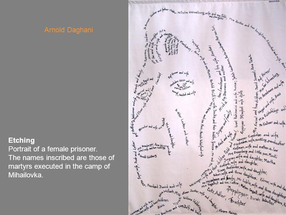 Etching Portrait of a female prisoner.
