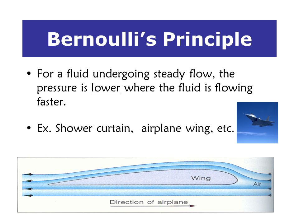 Bernoullis Principle For a fluid undergoing steady flow, the pressure is lower where the fluid is flowing faster. Ex. Shower curtain, airplane wing, e