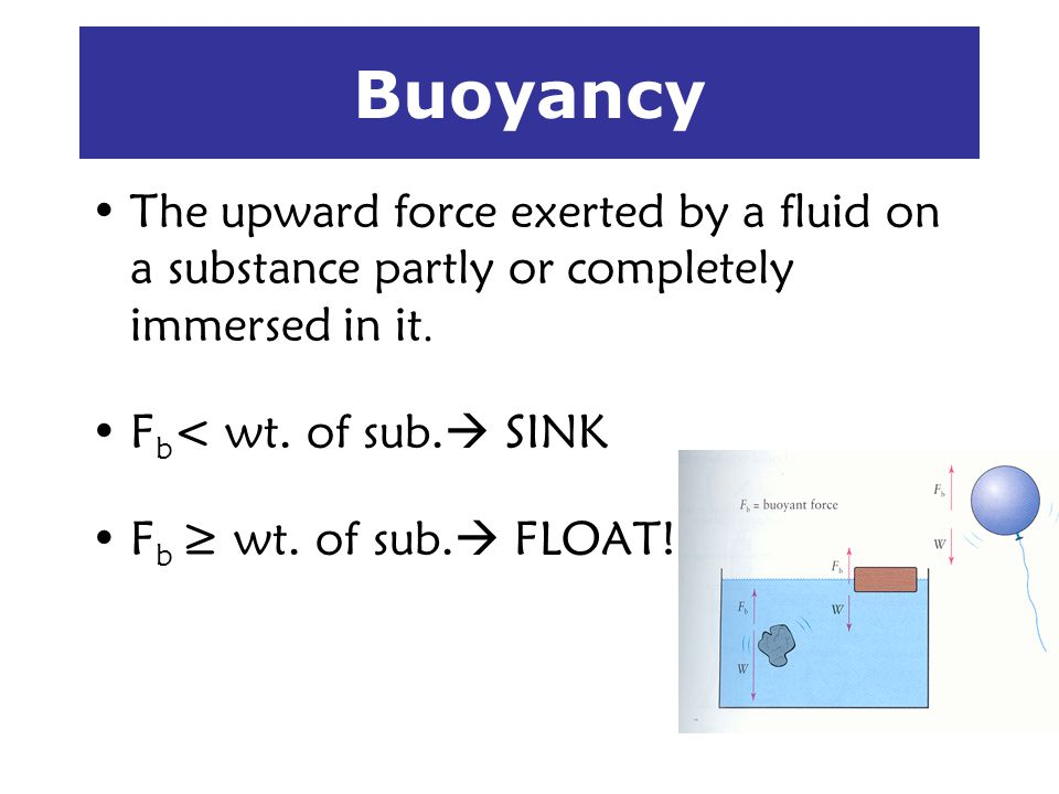 Buoyancy The upward force exerted by a fluid on a substance partly or completely immersed in it. F b < wt. of sub. SINK F b wt. of sub. FLOAT!