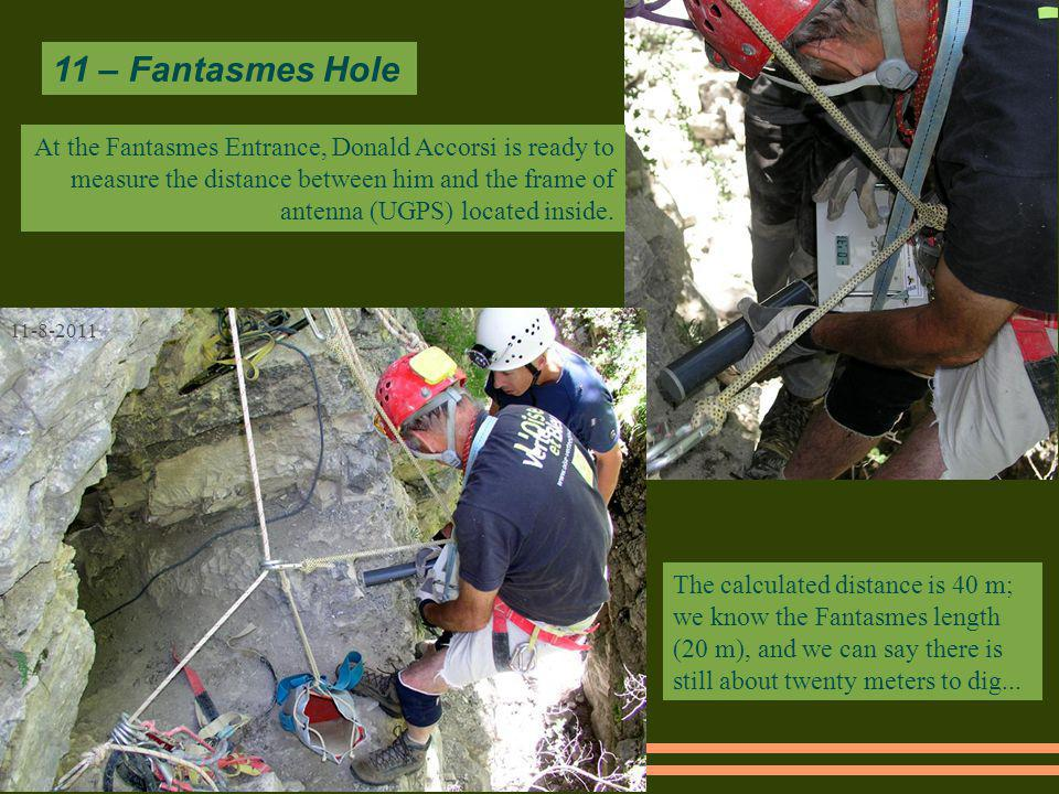 11 – Fantasmes Hole 11-8-2011 The calculated distance is 40 m; we know the Fantasmes length (20 m), and we can say there is still about twenty meters to dig...