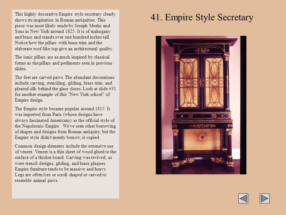 This highly decorative Empire style secretary clearly shows its inspiration in Roman antiquities. This piece was most likely made by Joseph Meeks and