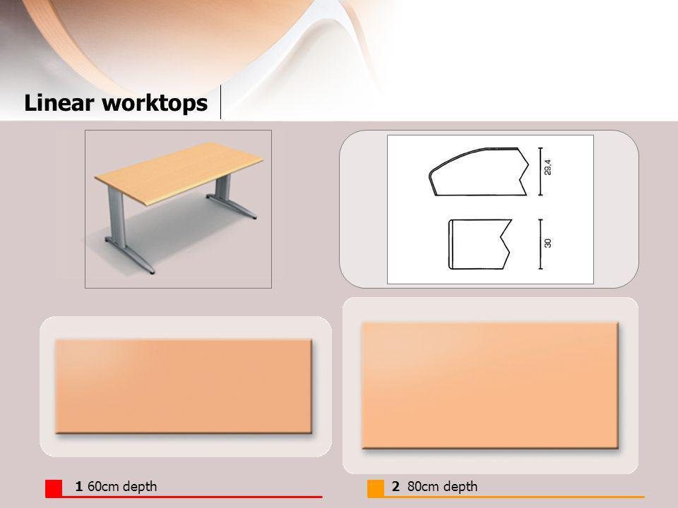 Linear worktops 1 60cm depth2 80cm depth