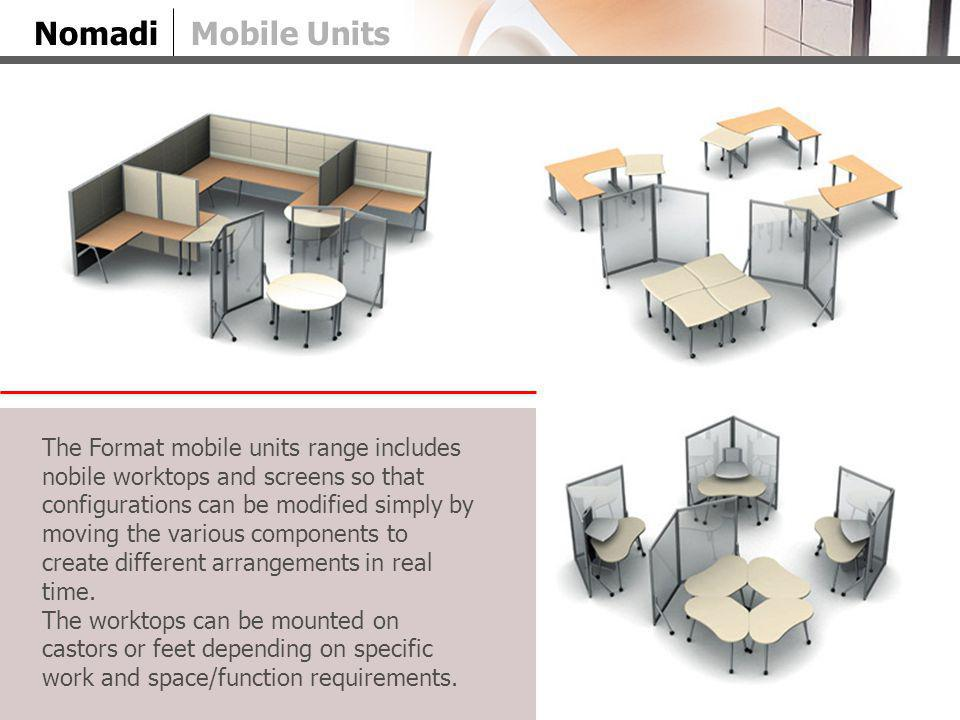 NomadiMobile Units The Format mobile units range includes nobile worktops and screens so that configurations can be modified simply by moving the various components to create different arrangements in real time.