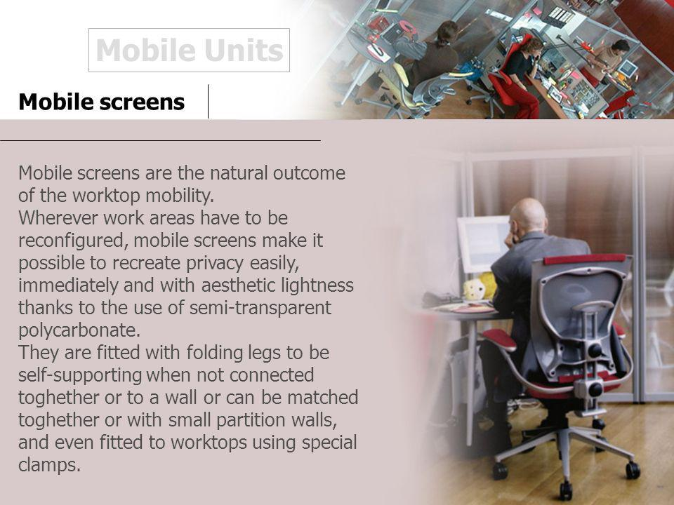 Mobile screens Mobile screens are the natural outcome of the worktop mobility.