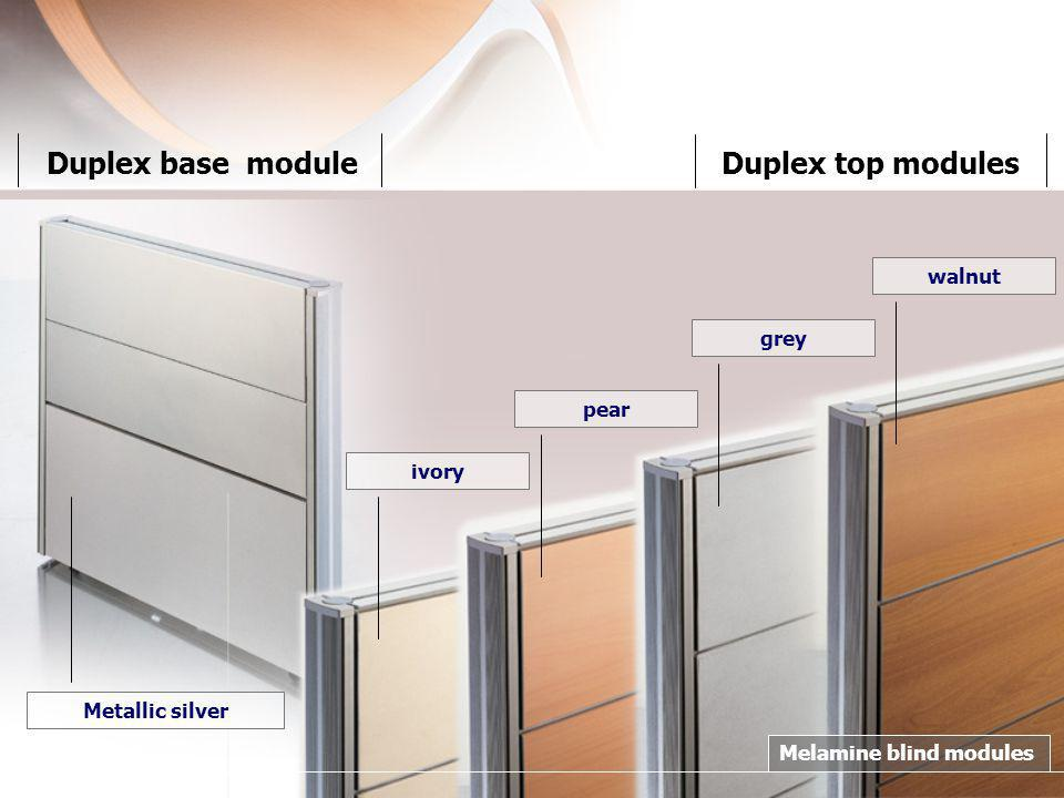 Duplex base moduleDuplex top modules walnut grey pear ivoryMetallic silver Melamine blind modules