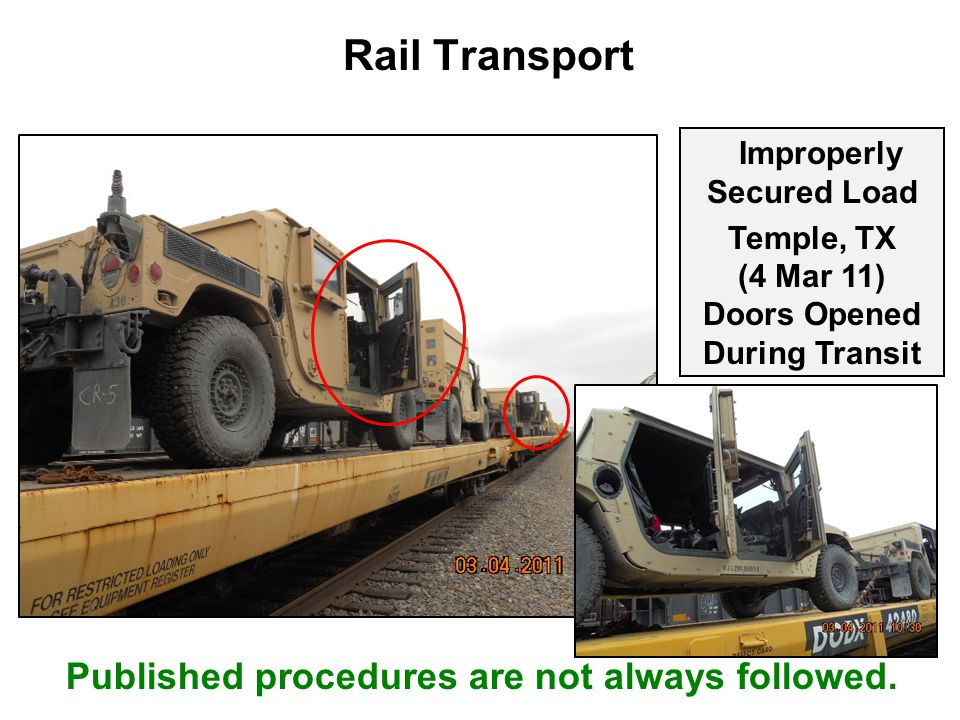 Rail Transport Improperly Secured Load Temple, TX (4 Mar 11) Doors Opened During Transit Published procedures are not always followed.