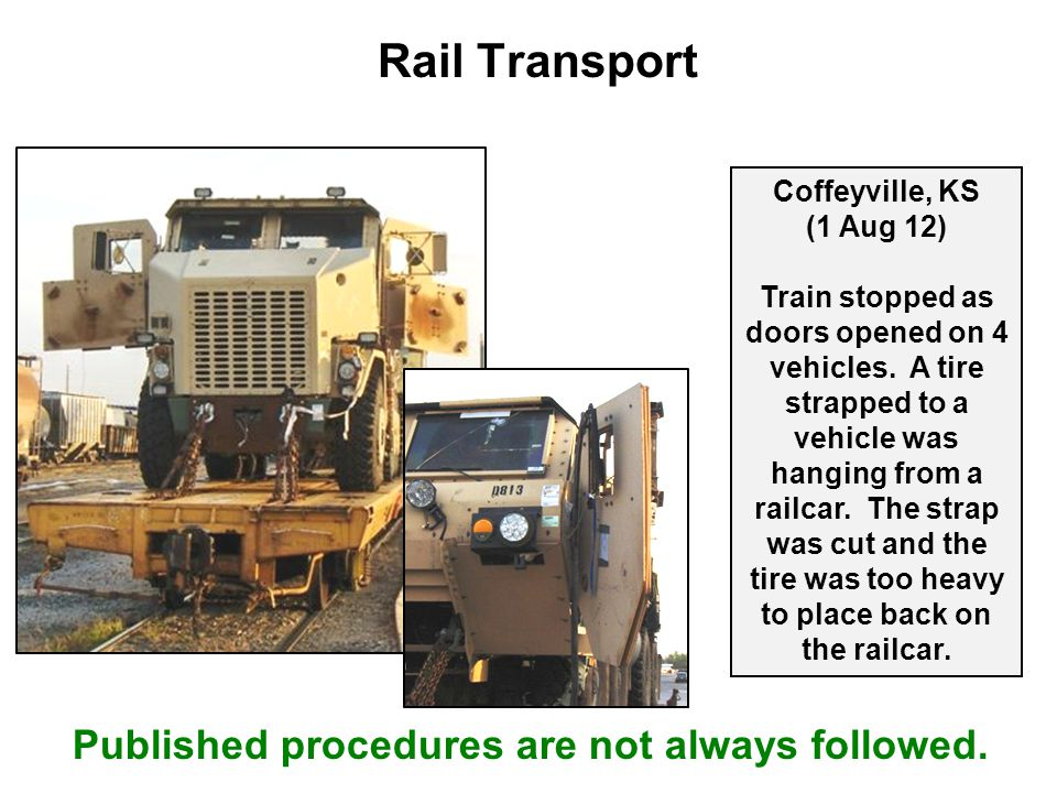 Rail Transport Coffeyville, KS (1 Aug 12) Train stopped as doors opened on 4 vehicles. A tire strapped to a vehicle was hanging from a railcar. The st