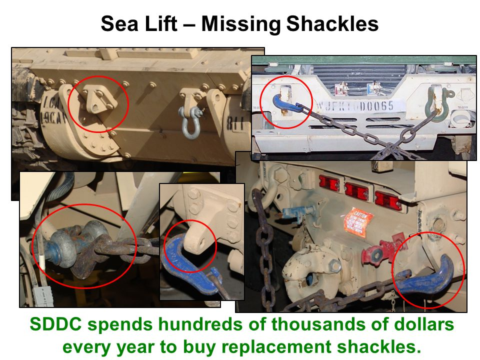 Sea Lift – Missing Shackles SDDC spends hundreds of thousands of dollars every year to buy replacement shackles.