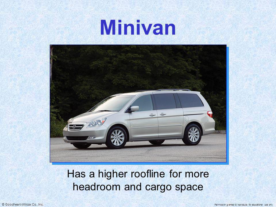 © Goodheart-Willcox Co., Inc. Permission granted to reproduce for educational use only Minivan Has a higher roofline for more headroom and cargo space