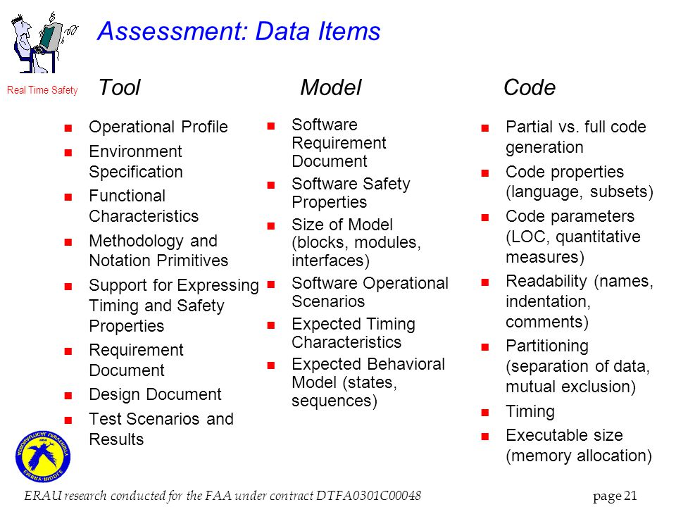 Real Time Safety ERAU research conducted for the FAA under contract DTFA0301C00048 page 21 Assessment: Data Items ToolModelCode Operational Profile Environment Specification Functional Characteristics Methodology and Notation Primitives Support for Expressing Timing and Safety Properties Requirement Document Design Document Test Scenarios and Results Software Requirement Document Software Safety Properties Size of Model (blocks, modules, interfaces) Software Operational Scenarios Expected Timing Characteristics Expected Behavioral Model (states, sequences) Partial vs.