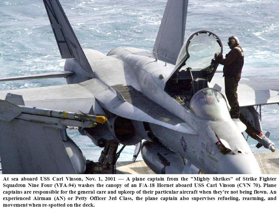 At sea aboard USS Carl Vinson, Nov. 1, 2001 A plane captain from the