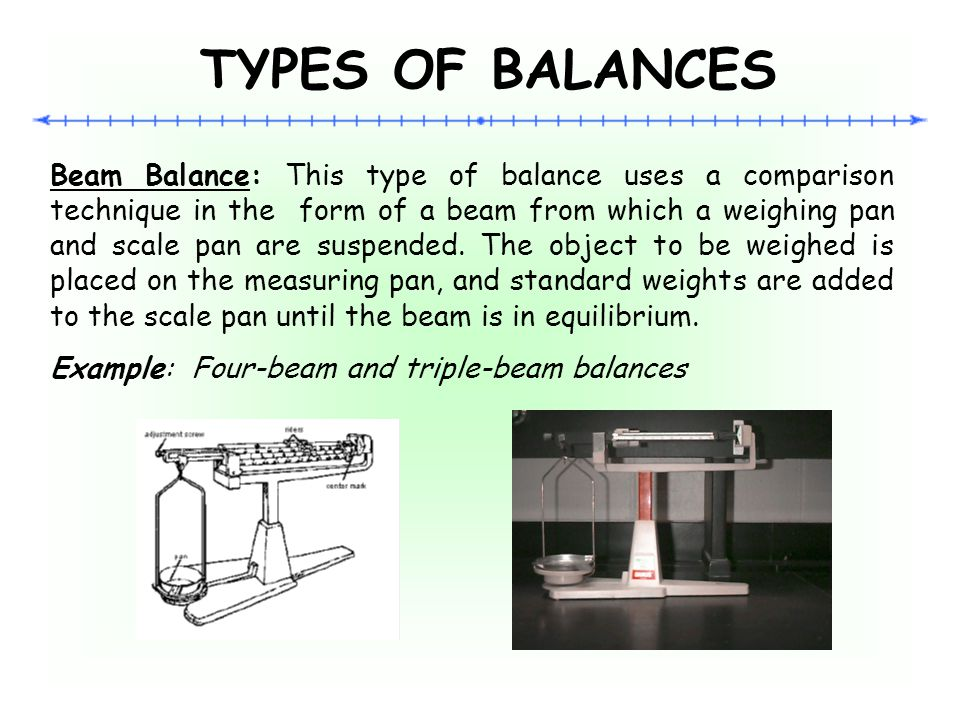 TYPES OF BALANCES Analytical Balance: This type of instrument is used to measure mass to a very high degree of precision.