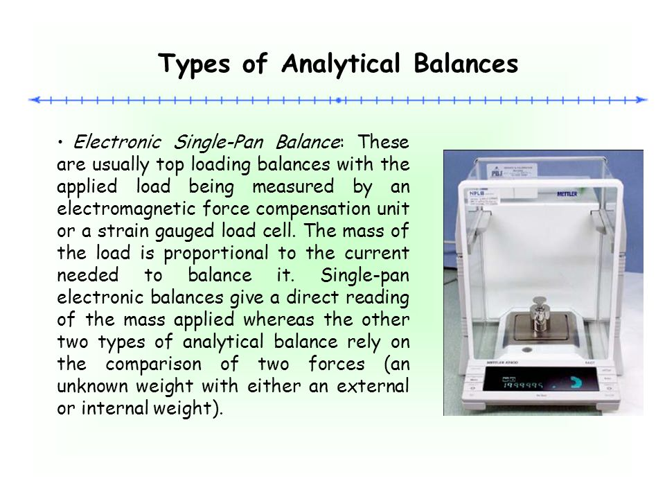 Microbalance: This type of analytical balance is capable of measuring samples to at least 1 million parts of a gram Microbalances are used to accurately measure small amounts of a sample.