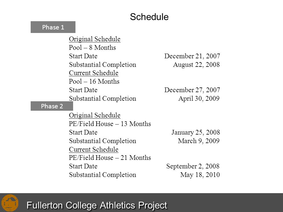 Original Schedule Pool – 8 Months Start Date December 21, 2007 Substantial Completion August 22, 2008 Current Schedule Pool – 16 Months Start Date Dec