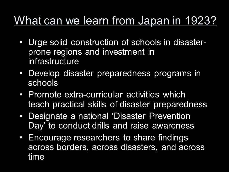 What can we learn from Japan in 1923.