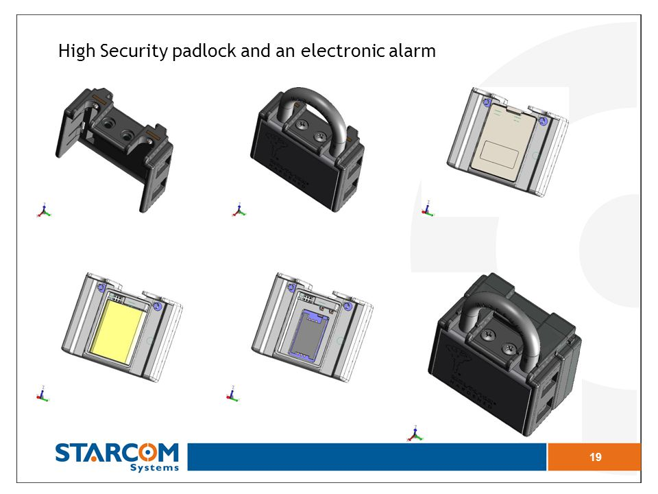 High Security padlock and an electronic alarm 19