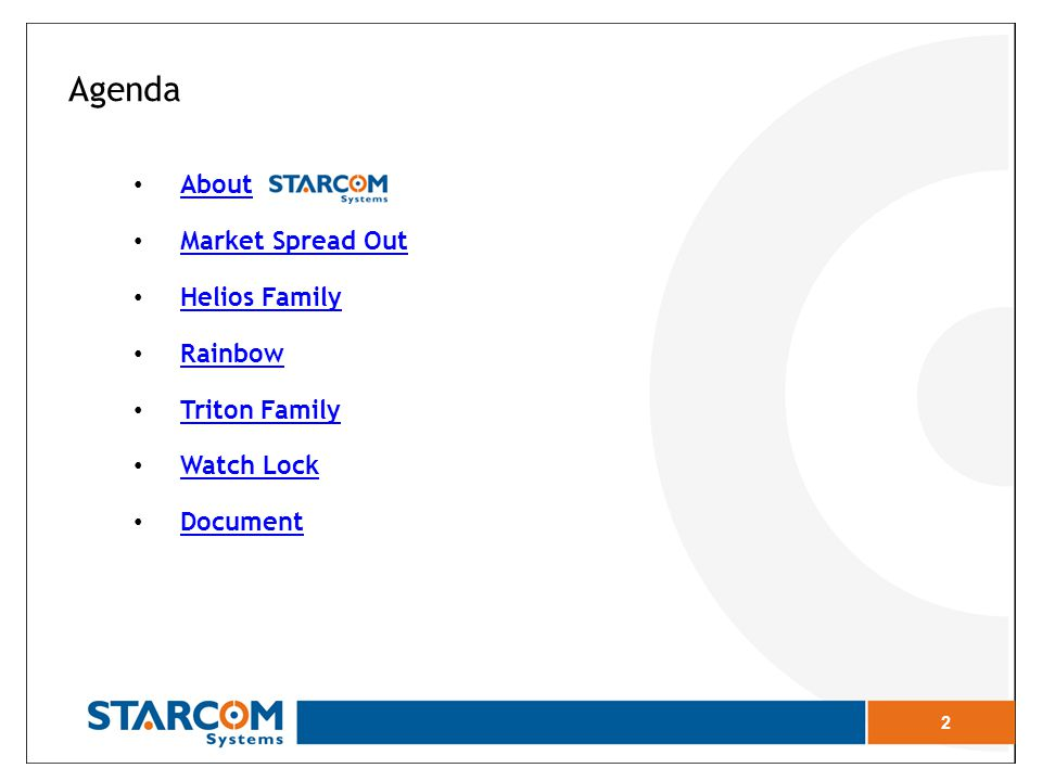 2 Agenda About Market Spread Out Market Spread Out Helios Family Rainbow Triton Family Watch Lock Document