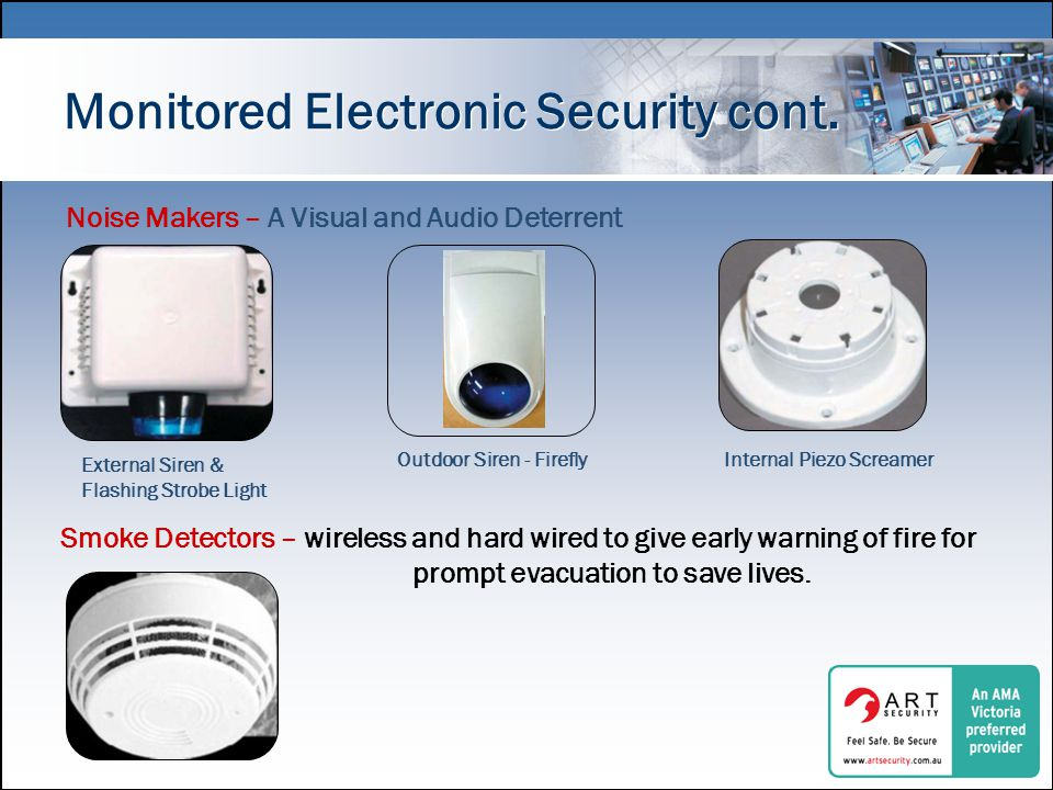 Monitored Electronic Security cont.